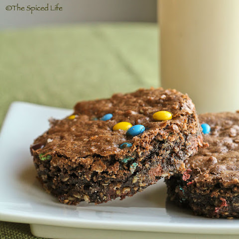 100% Whole Grain Oatmeal Brownies with M&Ms