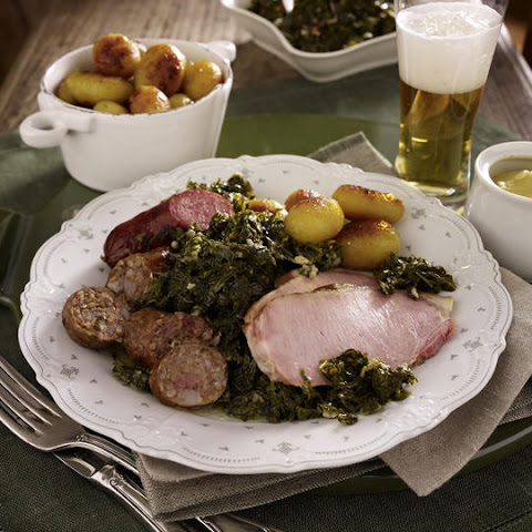 Pork Chops with Sausage and Kale