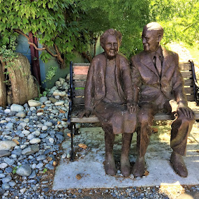 Senior's on a bench by Carol Leynard - Instagram & Mobile iPhone ( statue, bench, couple statue, senior statue )
