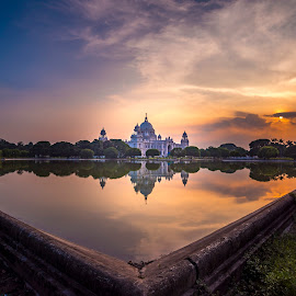 || V I C T O R I A || by Abhi Chatterjee - Buildings & Architecture Public & Historical ( clouds, reflection, nikon india, architectural detail, traditional, lake, architecture, sun, victoria memorial, i love nikon, history, nikon d750, sky, color, sunset, architectural, trees, victoria, nikon, golden hour )