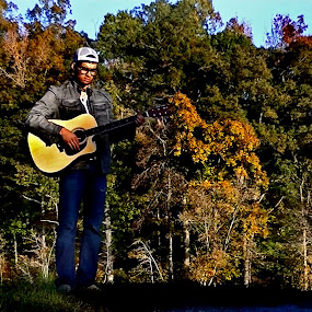 Musician of the Woods by Daryl Peck - Novices Only Portraits & People ( music, autumn, fall, guitarist, guitar, musician, woods,  )