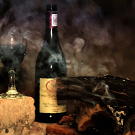 Time-out by Dricus Bosman - Food & Drink Alcohol & Drinks ( smokey, wine, low contrast, rich, wine glass, africa, in focus, ambient )