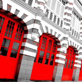 Red doors by Stanley Poh - Buildings & Architecture Other Exteriors
