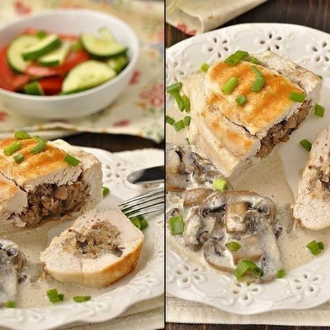 Chicken Breasts stuffed with buckwheat and mushrooms, stewed in creamy mushroom sauce