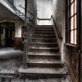 Watch your steps... by John Hoey - Buildings & Architecture Decaying & Abandoned ( canon, urban exploration, interior, eerie, state mental hospital, building, hdr, spooky, entryway, urbex, high-resolution, stairs, new england, color, abandoned, decay )