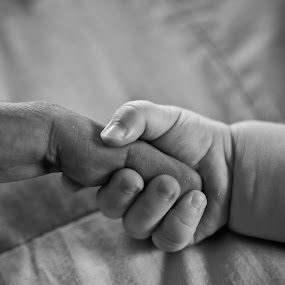 Hold me please by Christos Psevdiotis - People Body Parts ( love, hands, family, black & white, baby, finger, newborn,  )