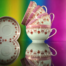 Teacups and saucer by Janette Ho - Artistic Objects Cups, Plates & Utensils