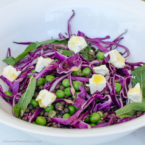 Puy Lentil, Pea And Red Cabbage Salad, With Mint And Feta