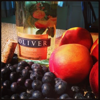 Oliver Winery Peach Honey Wine and Blueberry Galette