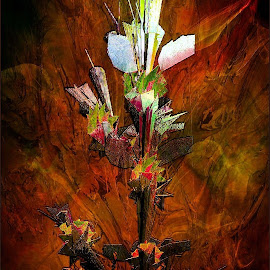 In The Depths of a Cave by Nancy Bowen - Illustration Flowers & Nature ( colored background, flowers abstract, rust )