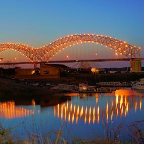 Hernando Desoto Bridge by Joe Machuta - City,  Street & Park  Night