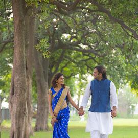 The walk by Kshitij Bhaswar - Wedding Bride & Groom ( kshitij, park, beautiful couple, indian wedding, delhi, love, kshitij bhaswar, wedding, greenery, background, pre wedding, trees, couple, india, garden, walk )
