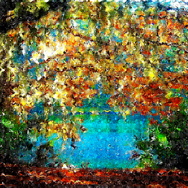 glowing leaves by Edward Gold - Digital Art Places ( blue water, leaves, autumn leaves, water, landscape, colorful, digital art,  )