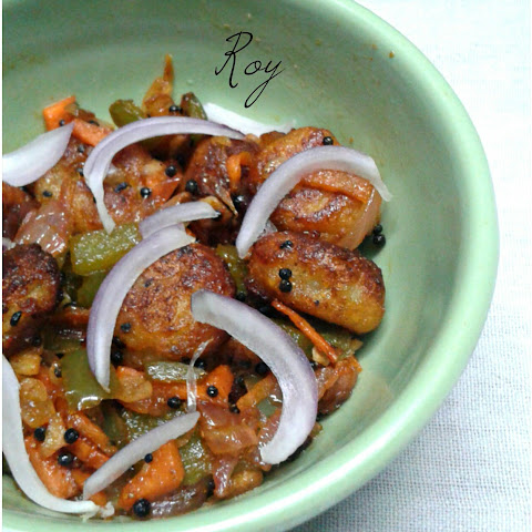 Vegetable Stir-fry with a twist~Leftover mashed potato crispy balls