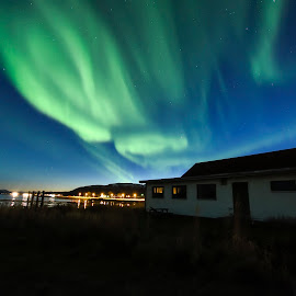 Great Aurora over this clubhouse by Jens Andre Mehammer Birkeland - Buildings & Architecture Homes ( sky, sunset, aurora borealis, aurora, house, norway )