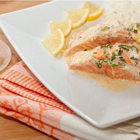 Salmon baked with sauce HERBAL