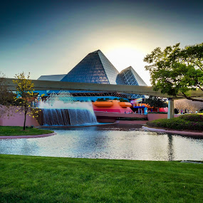 With just one spark...! by David Whitehead - City,  Street & Park  Amusement Parks ( epcot hdr imagination vacation wdw walt disney waltdisneyworld sky blue sun light monorail florida water fountain figment, , color, colors, landscape, portrait, object, filter forge )