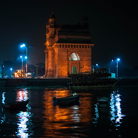 Gate Way of india by Anand Jalkhare - City,  Street & Park  Historic Districts ( mumbai, gateway, night, india, gatewayofindia, river )
