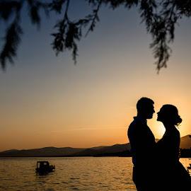 by Zeljko Marcina - Wedding Bride & Groom ( love, sunset, wedding, croatia, split )