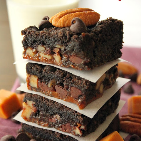 Dark Chocolate Caramel Nut Brownies