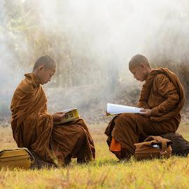 Little Monk by Sutiporn Somnam - People Portraits of Men ( monk, life, asia, thailand, portrait )