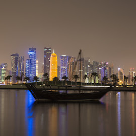 Corniche View from sea by Selvakumar Mani - City,  Street & Park  Skylines ( water, shore, shutter, corniche, doha, sea, night, qatar, boat )