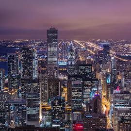 windy city at dusk by Thomas Farina - City,  Street & Park  Skylines