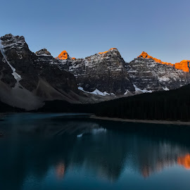 Sunrise in the Valley of the Ten Peaks by Joe Chowaniec - Landscapes Sunsets & Sunrises ( orange, mountains, relfection, banff national park, lake, sunrise, landscape, landscapes, moraine lake )