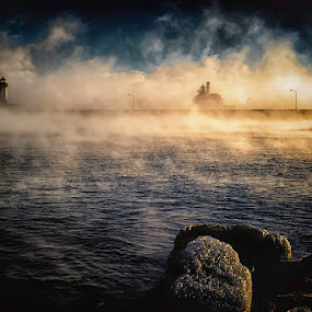Mystic by Glen Sande - Landscapes Weather ( mn, duluth, pentax a 50mm macro f2.8, winter, canal park, sea smoke, 2016, norfinlight, pentax k1, glen sande )