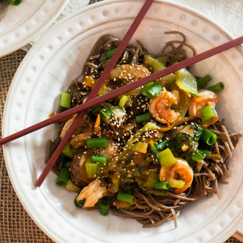 Shrimp and Bok Choy Soba Stir-Fry