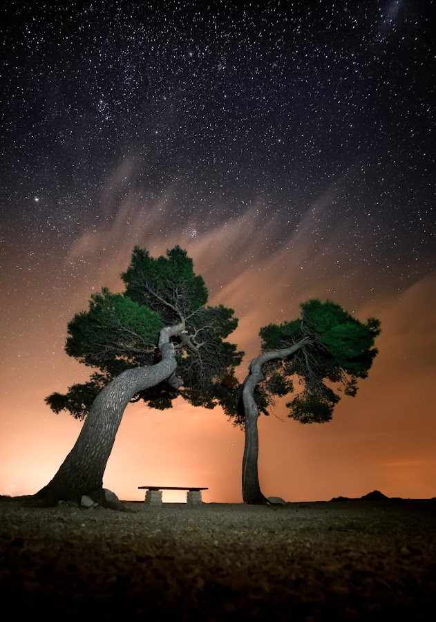 Love bench by Petar Lupic - Landscapes Starscapes ( night photo, rab, rabpix, petar lupic, starscape, nice photo )