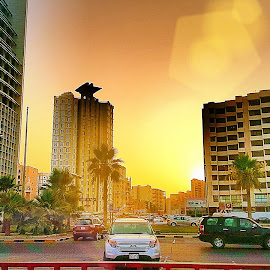 Golden sky by Naveen Aggarwal  - City,  Street & Park  Street Scenes ( sunset .sunrise, kuwait )