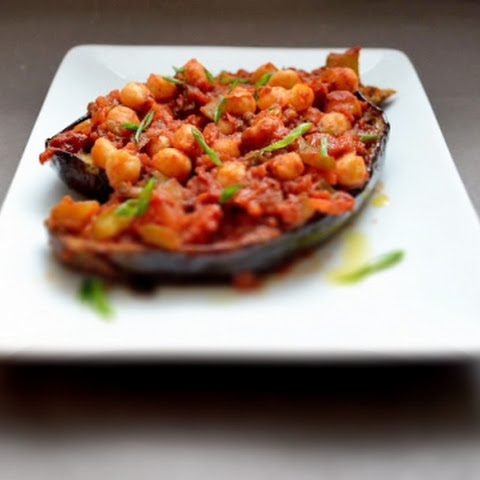 Mediterranean Stuffed Eggplant with Chickpeas, Chunky Tomato Sauce, Oregano and Warm Spices