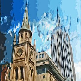 Buildings by Edward Gold - Digital Art Places ( blue skies, buildings, church, skyscraper, brown, digital art,  )