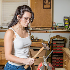 Elise [6086] by Carl Albro - People Portraits of Women ( workshop, woman, vise, worker, beauty, hammer )