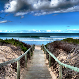 At the Beach by Stefan Smit - Landscapes Waterscapes ( leading lines, ocean, beach, clouds, water, boardwalk,  )