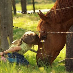 A kiss for you! by Giselle Pierce - Babies & Children Children Candids ( little girl, horse )