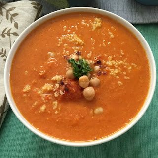 Moroccan Tomato Couscous Chickpea Soup