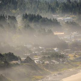 Morning Fog by Richard Michael Lingo - Landscapes Weather ( oregon, fog, weather, seaside, landscape )
