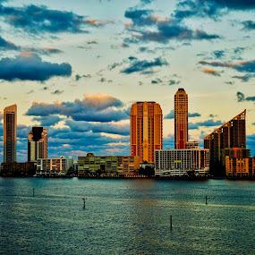 Sunset over Sunny Isles, FL by Neil Dern - City,  Street & Park  Vistas ( water, sky, sunset, buildings, landsc )