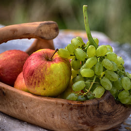 Fresh Vitamines by Marco Bertamé - Food & Drink Fruits & Vegetables ( bowl, red, wood, fresh, grapes, green, apple, brown, yellow )