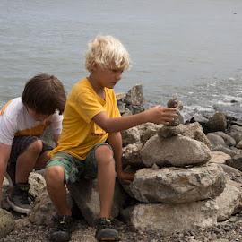 Stacking Rocks by Janet Marsh - Babies & Children Children Candids ( rocks, kids,  )