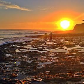 by Derek Gibbins - Instagram & Mobile iPhone ( sand, cliffs, sunset, ocean, beach, rocks )