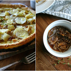 Chicken, Potato, and Brie Tart With Onion Jam