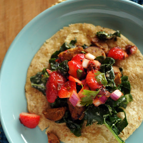 Strawberry Chipotle Sausage-Kale Tacos