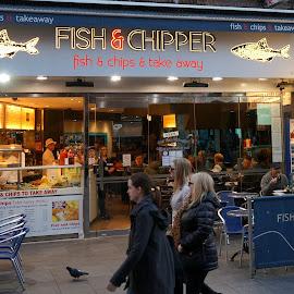 In & out by Sámuel Zalányi - City,  Street & Park  Street Scenes ( chips, uk, soho, london, fish, restaurants,  )