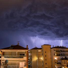 Thunderbolt by Sakis Kaloua - Landscapes Weather ( clouds, thunder, lightning, sky, thunderstorm, greece, kilkis, summer, night, storm, nikon, city )