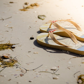 Barefoot by Beth Thomander - Artistic Objects Clothing & Accessories ( water, sand, sandals, ocean, beach, sun )