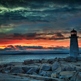 Sunset at Peggy's Cove by Angela Fox - Landscapes Sunsets & Sunrises ( clouds, peggy's cove, sunset, lighthouse, beach )