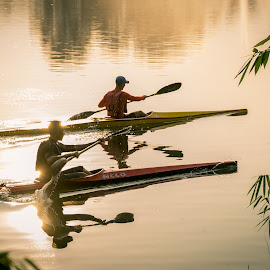 Kayaking by Varok Saurfang - Sports & Fitness Other Sports ( park, rowing, candid, boat, morning, kayak, paddle )